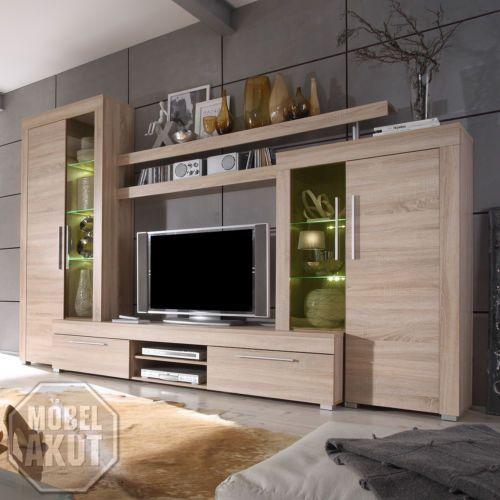 details zu wohnwand boom anbauwand wohnzimmer sonoma eiche s gerau inkl beleuchtung. Black Bedroom Furniture Sets. Home Design Ideas