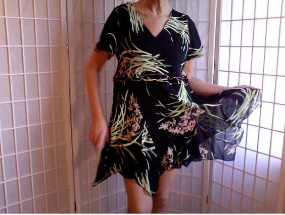 95  Femine Mini Dress Jeans Topper Med UpCycled by ArtzWear