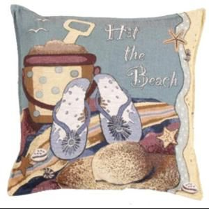 "Set of 2 Summer Tropical ""Hit the Beach"" Decorative Tapestry Throw Pillows 17"""
