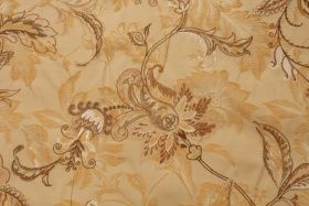 ADF Floral Embroidered Damask Upholstery Fabric in Honey $14.95 per yard