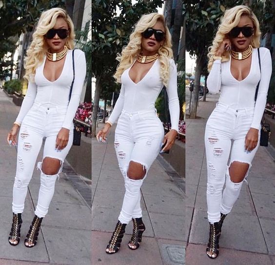 White bodysuit with jeans and gold necklace | Dope Style