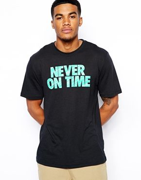 Nike Never On Time T-Shirt With Back Slogan