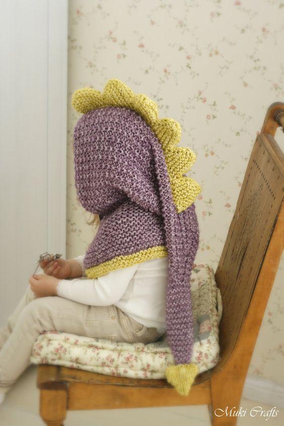 Knitting Pattern For A Dinosaur : KNITTING PATTERN long tail dragon / dinosaur hood Warren (toddler/child/teen/...