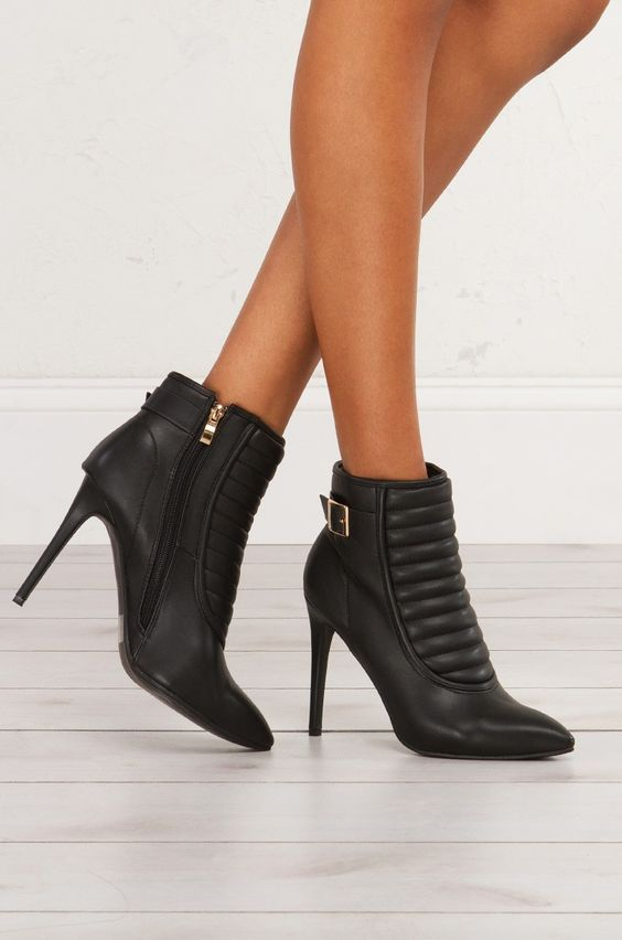 Heeled Moto Booties For Edgy Looks