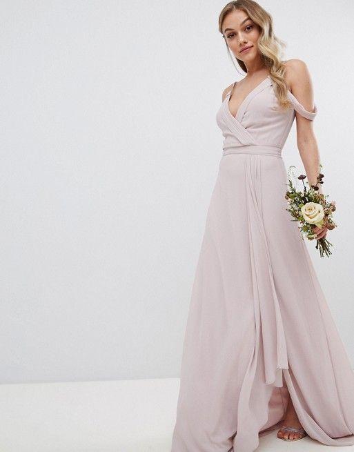 Tfnc Petite Tfnc Petite Cold Shoulder Wrap Maxi Bridesmaid Dress With Fishtail Wrap Dress Bridesmaid Bridesmaid Dresses Maxi Bridesmaid Dresses