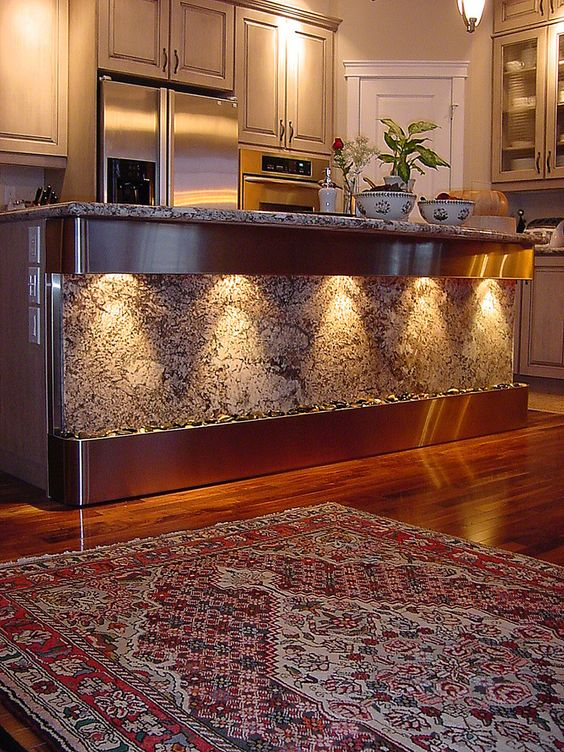 Water fountain feature at kitchen bar water features for for Kitchen feature wall ideas