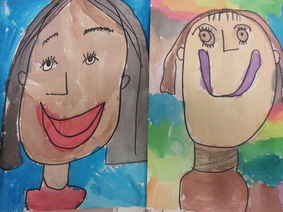 Kindergarten watercolor self portraits