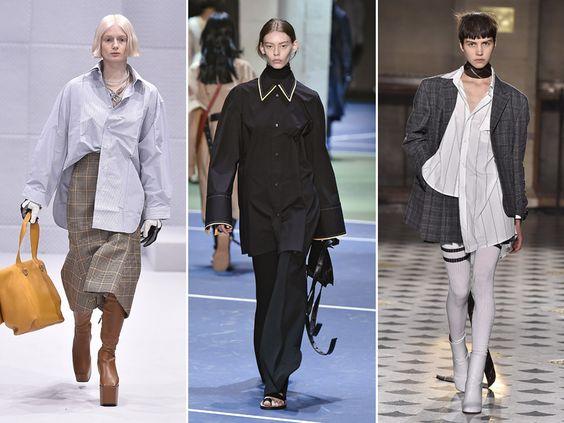 Maxicamisas (Balenciaga, Céline, Vetements) - Com um lado preso e o outro solto ou simplesmente cobrindo saias e pantacourts, as camisas supercompridas modernizam o look