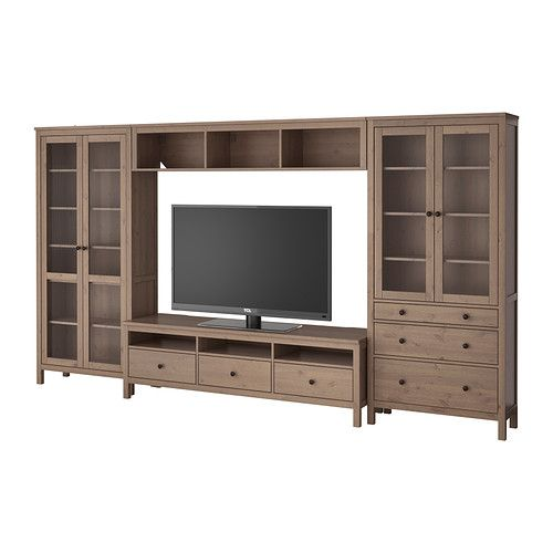 hemnes tv storage combination glass doors gray brown ikea i like the color but not sure with. Black Bedroom Furniture Sets. Home Design Ideas