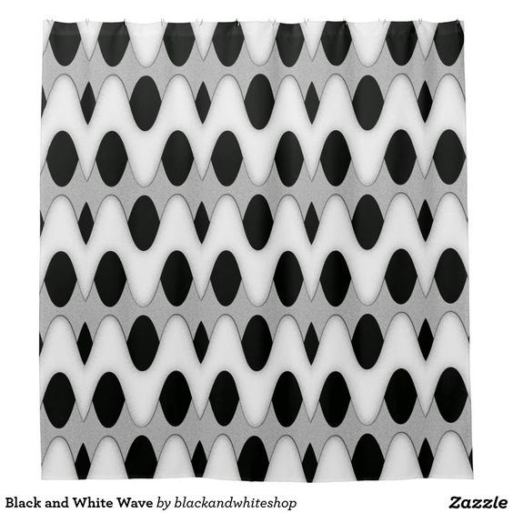 Black and White Wave Shower Curtain