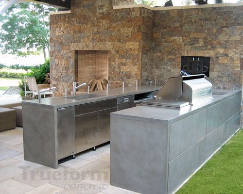 Concrete Countertop Outdoor Kitchen  Concrete Kitchens And Brilliant Outdoor Kitchen Countertops Decorating Design