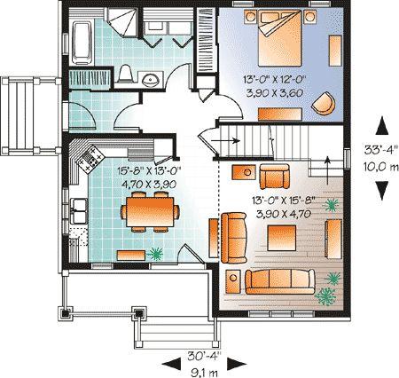 Plan 21735dr Cozy Cottage With Covered Porch Planos De Casas Mini Cocina Y House