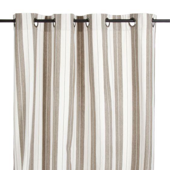 Rideau illets en coton ray lin et blanc belluzzi for Decoration interieur fenetre rideau