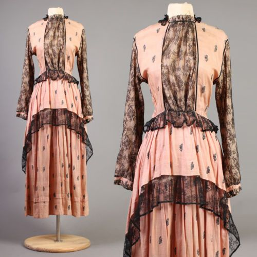 vtg-BLACK-LACE-sheer-TIERED-peach-embroider-maxi-floral-illusion-dress-30s-S-M