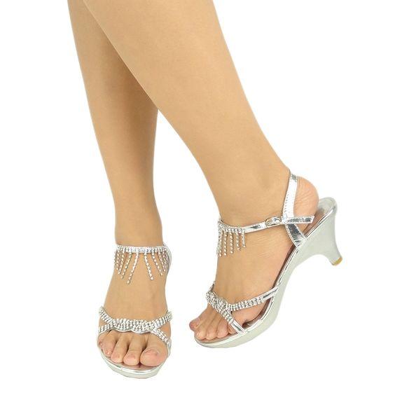 Silver strappy heels with rhinestones