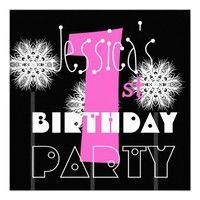Modern Kid's 1st Birthday Pink Black White Flowers Custom Invites.  #invite #invitation #celebrate #celebration #announce #announcement #first #birthday #one #oneyear