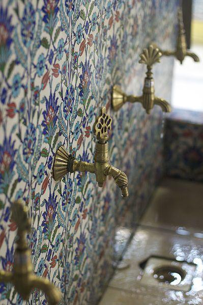 faucets, tile. (via Messes of Men)