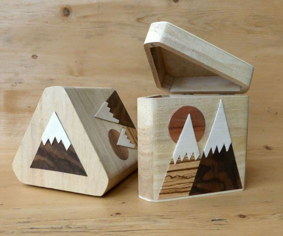 Mountain wooden box. Triangular handmade and decorated by AMOKORI