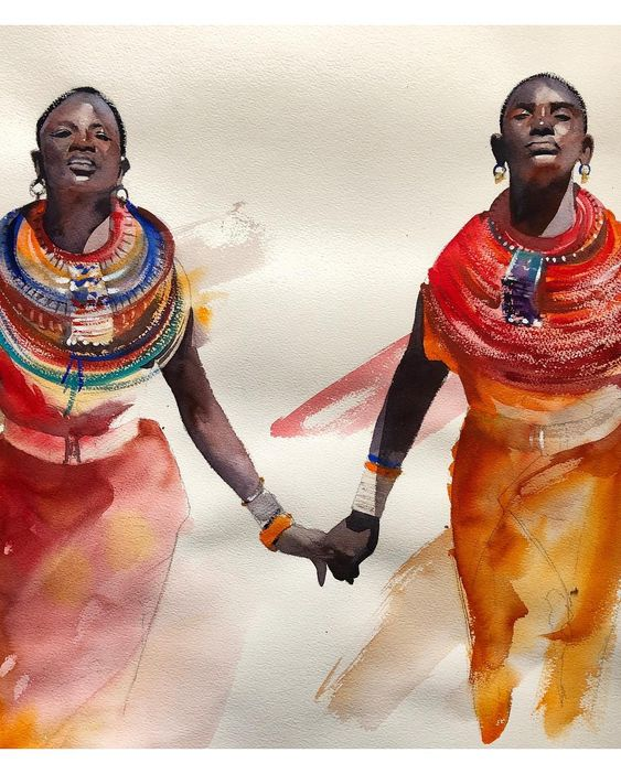 """Compartilhar"" Aquarela - 56x76cm Disponível #figurativeart #painting #people #aquarela #watercolor #winsorandnewton…"