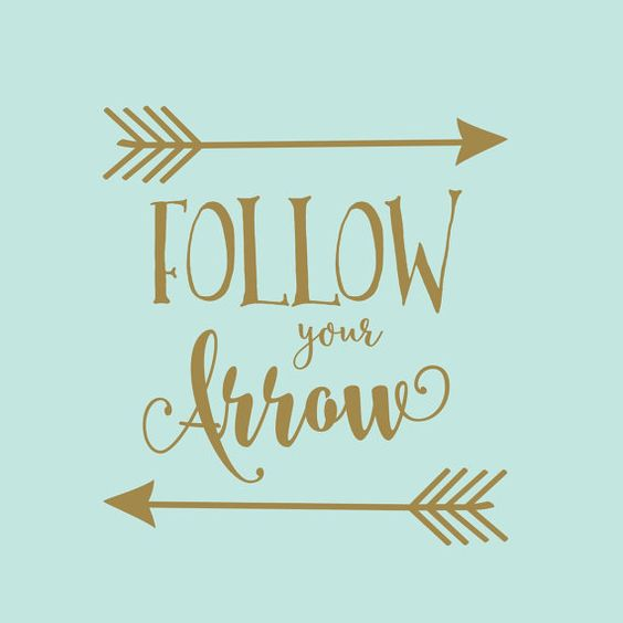 Follow your arrow decal gold nursery decor rustic for Cute gold heart wall decals