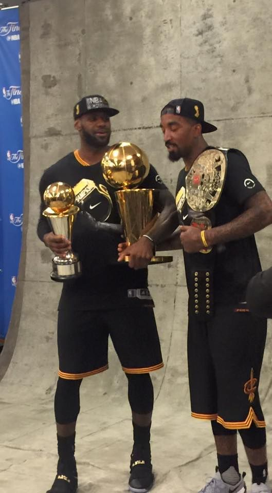 J R Smith With The Championship Belt Lebron James With The Trophies Basketball Funny Gif Bas In 2020 Lebron James King Lebron James Cleveland Cavaliers Basketball