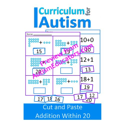 Cut and Paste Addition 10-20 Worksheets | Autism Resources for ...