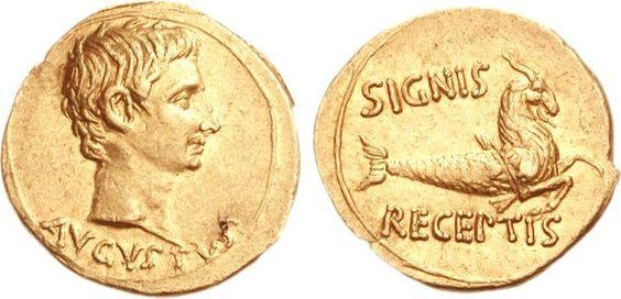 Moneda de Augusto emperador entre 27 a. C. y 14 d. C. AV Áureo