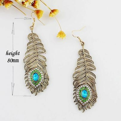 Love!!!Gold Leaf Crystal Dangle Earrings