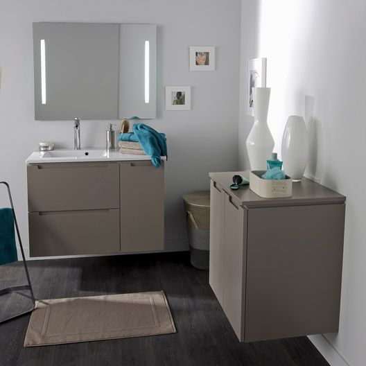 Meuble de salle de bains n o brun taupe id e salle de bain pinterest t - Meuble de salle de bain taupe ...