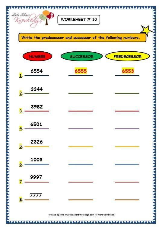 Grade 3 Maths Worksheets 4 Digit Numbers 1 9 Before Predecessor Between After Successor 3rd Grade Math Worksheets Mathematics Worksheets 3rd Grade Math