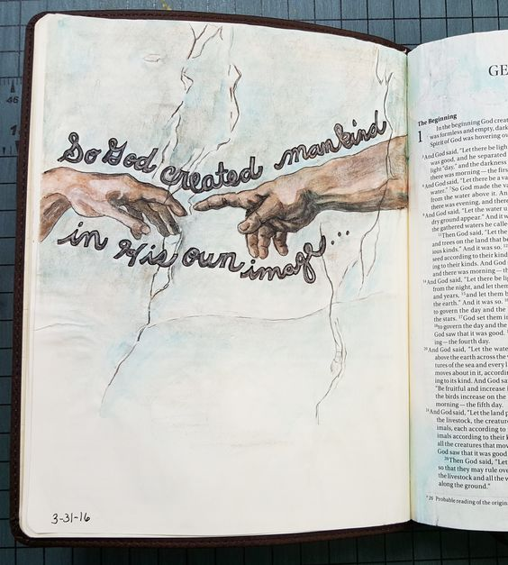 Genesis 1: 27 The Original Bible Art Journaling Challenges Series 17 http://www.rebekahrjones.com/bible-art-journaling-challenge/the-original-bible-art-journaling-challenge/:
