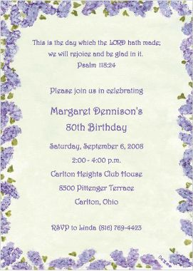 Retirement Party Invitation Wording Christian | Back to 80th ...