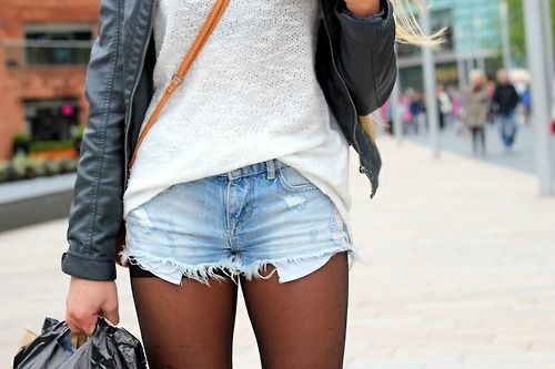 like this style denim shorts & tights