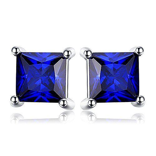 Saphir Bleu Rond Cut Argent Clous d/'oreilles-Deep Blue