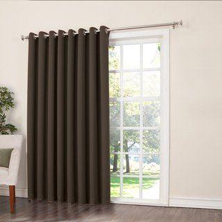 Porch Den Nantahala Rod Pocket Room Darkening Patio Door Single Curtain Panel 100 X 84 Black Polyester Solid Drapes Blinds Contemporary Curtains Insulated Curtains