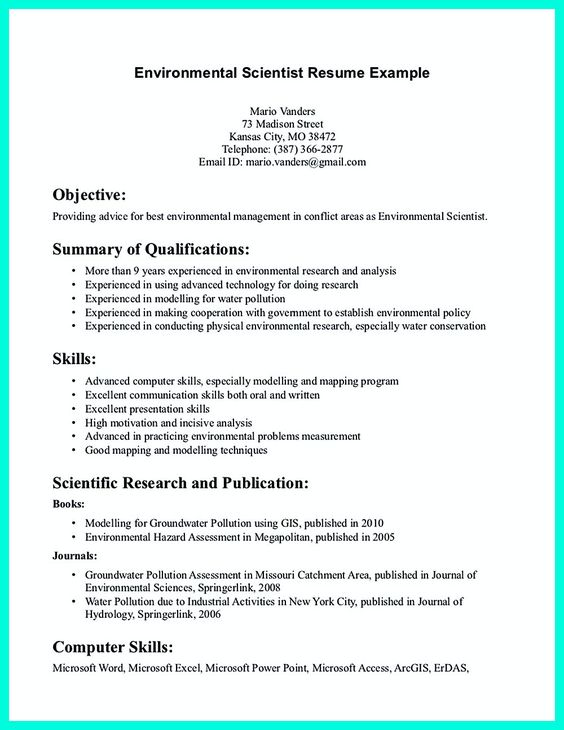 Data scientist resume include everything about your education - environmental scientist resume