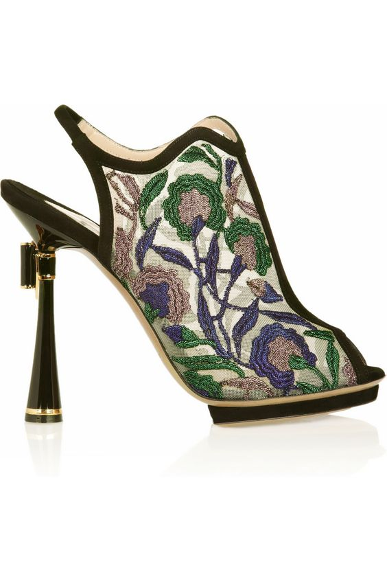 Today's So Shoe Me is the Metallic Floral-Embroidered Mesh Sandals by Nicholas Kirkwood, $1695, available at Net-a-Porter. Ornate embellishments are a must for fall - and you can't get any more luxe than the rich metallic embroidered details on these Nicholas Kirkwood sandals.