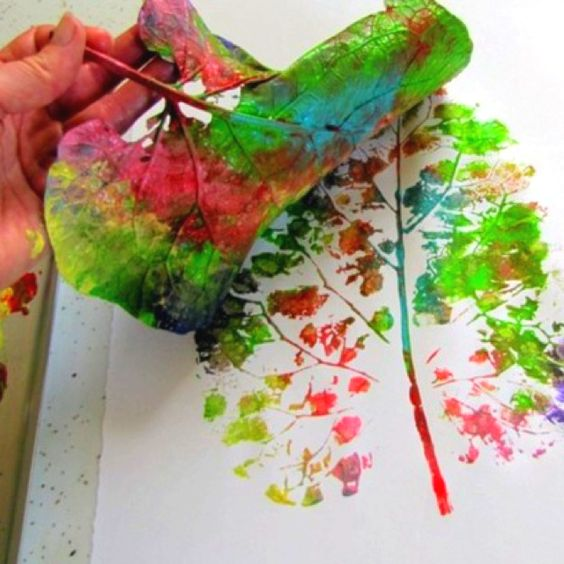 leaf + paint = painting