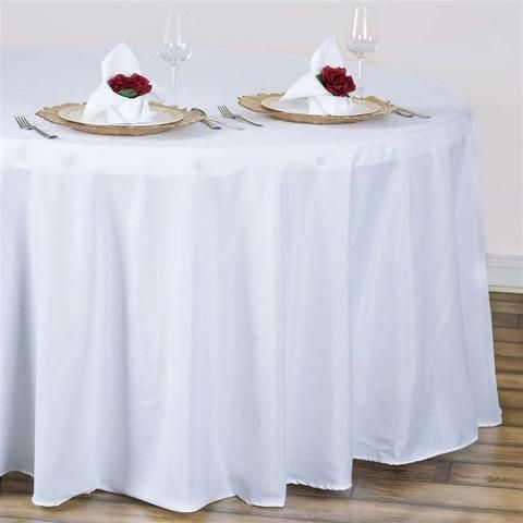 Linen Like 120 Round Table Cover White White Round Tablecloths Round Table Covers Round Tablecloth