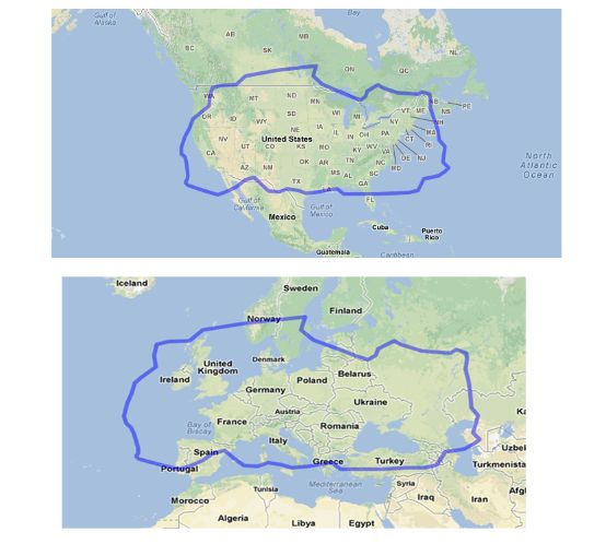 The Sahara Desert In Comparison With The US And Europe - Map of the us deserts