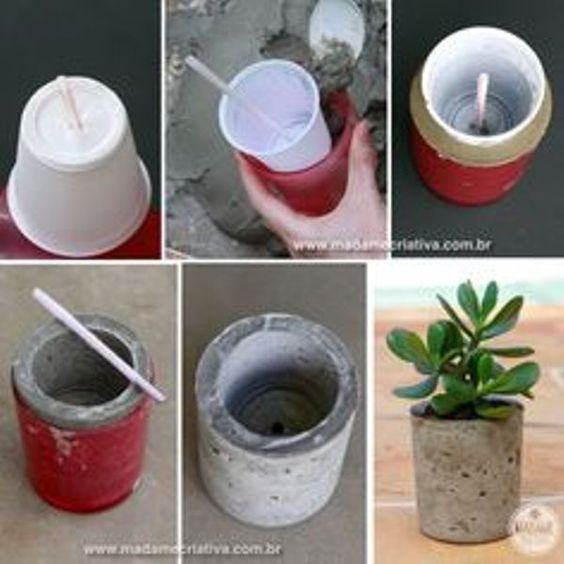 diy concrete floral vase decohogar pinterest vasen. Black Bedroom Furniture Sets. Home Design Ideas