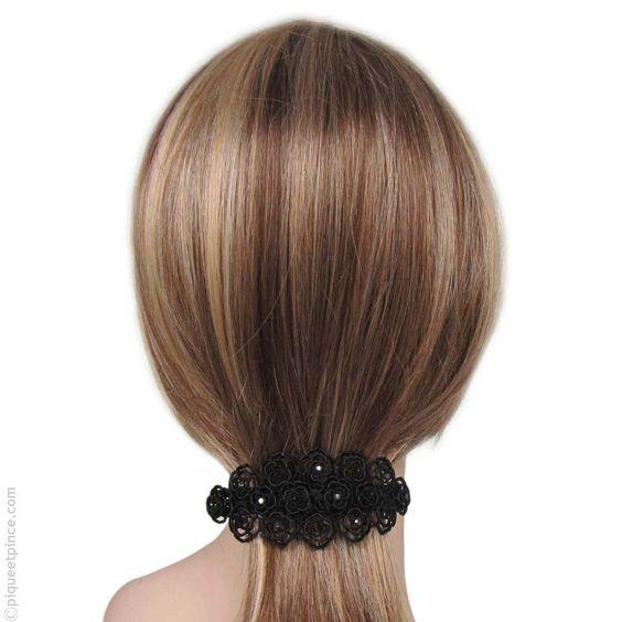 Barrette cheveux rétro noire et strass noirs