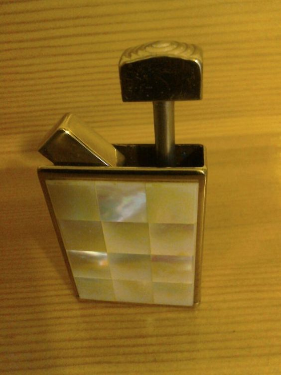 Vintage Retro 1940s Abalone Brass Perfume Atomiser Handbag Size