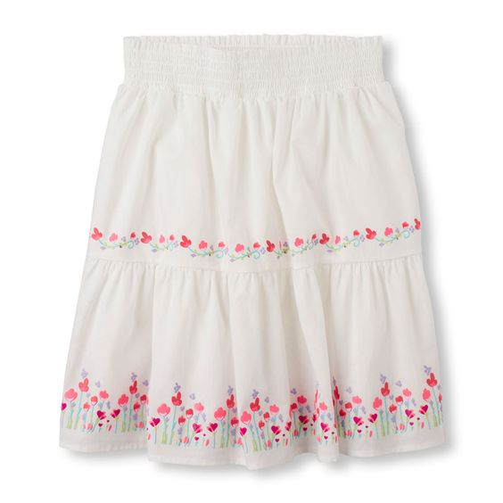 Girls Flower Border Skirt