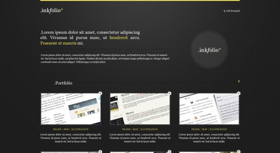 INKFOLIO  This layout is perfect for business sites and other related niches. The fonts used are standard and are easy to modify. It is a simple yet versatile template that uses a dark background plus details, making it look sleek and stylish. The styles are consistent with HTML and CSS.
