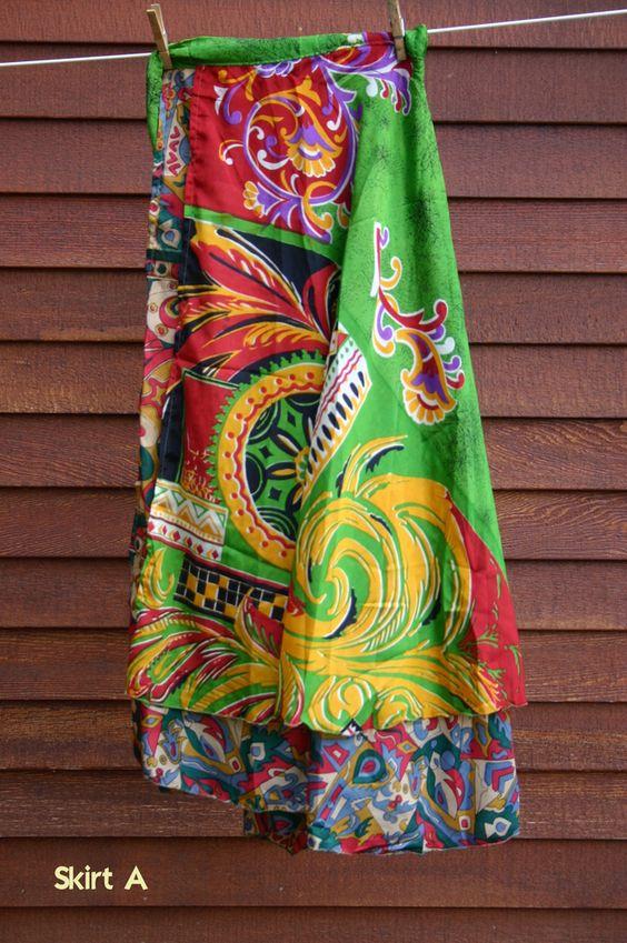 Multiwear Recycled Silk Sari Skirt: August 2012 by Darn Good Yarn   The Best Yarn Store!