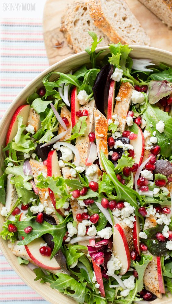 Turkey Pomegranate Salad with Creamy Balsamic: a healthy, filling lunch recipe.