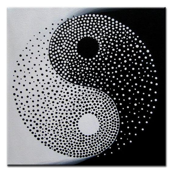 Yin Yang  Original Modern Painting on Canvas by MatriXArtbyDV, $59.00