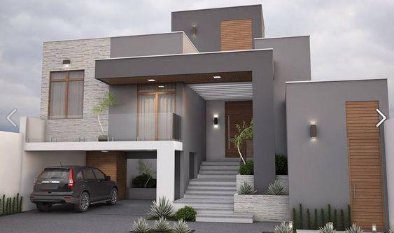 Fachadas de casas modernas com telhado embutido e escondido - art deco mobel design alta moda luxus zu hause