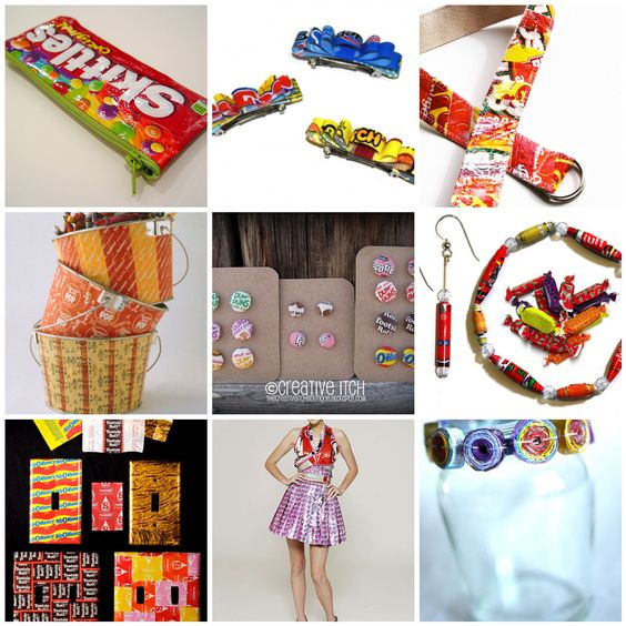 Projects to make with candy wrappers- but who will eat all of the candy? :)